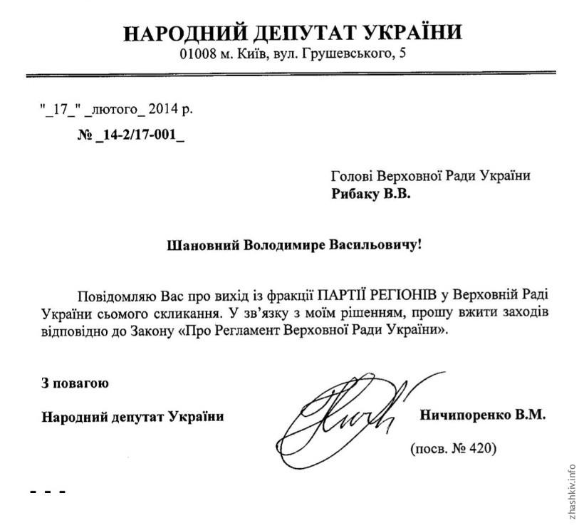 Валентин Ничипоренко заявив про вихід із фракції Партії регіонів (оновлено)